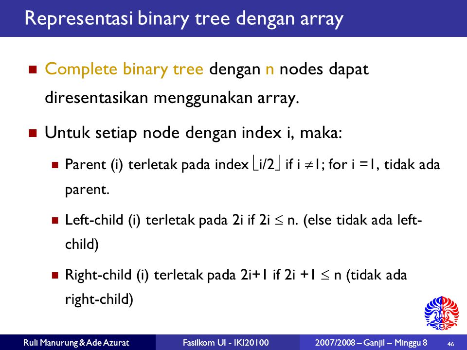 Representasi binary tree dengan array