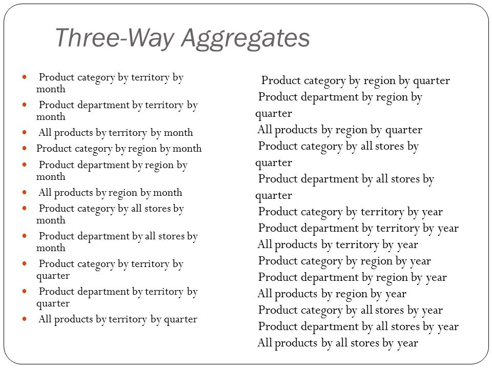 Three-Way Aggregates Product category by region by quarter
