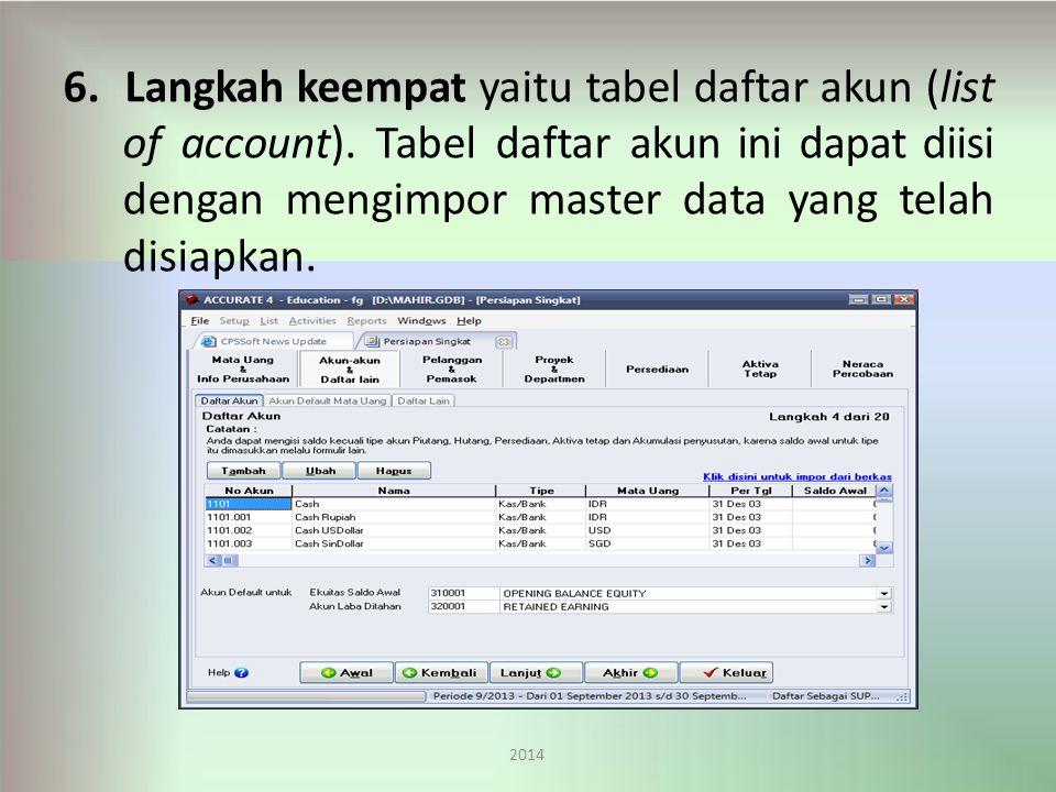 6. Langkah keempat yaitu tabel daftar akun (list of account)
