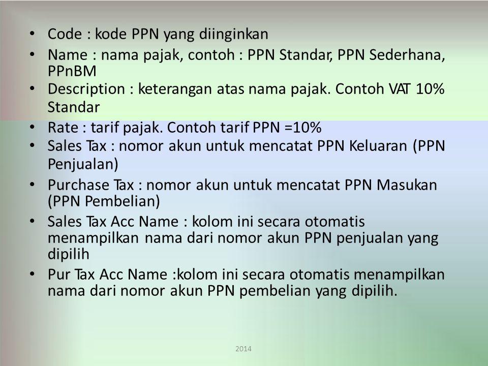 Code : kode PPN yang diinginkan