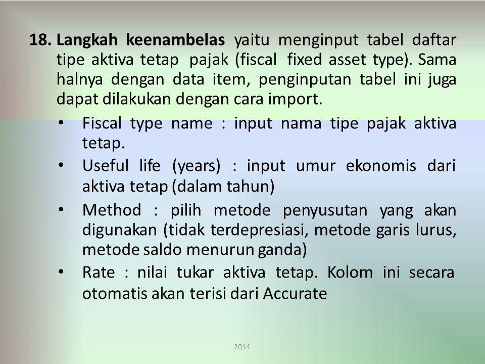 Fiscal type name : input nama tipe pajak aktiva tetap.