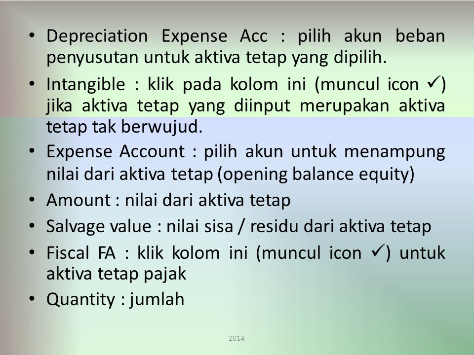 Expense Acc : pilih akun beban