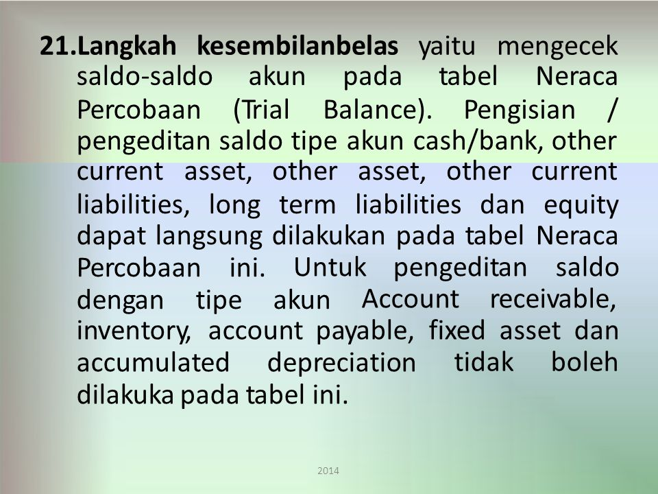 pengeditan saldo tipe akun cash/bank, other current asset,