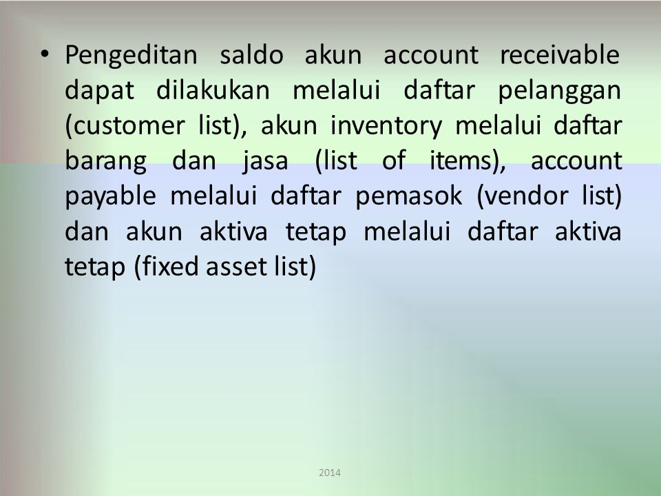 Pengeditan saldo akun account daftar receivable pelanggan