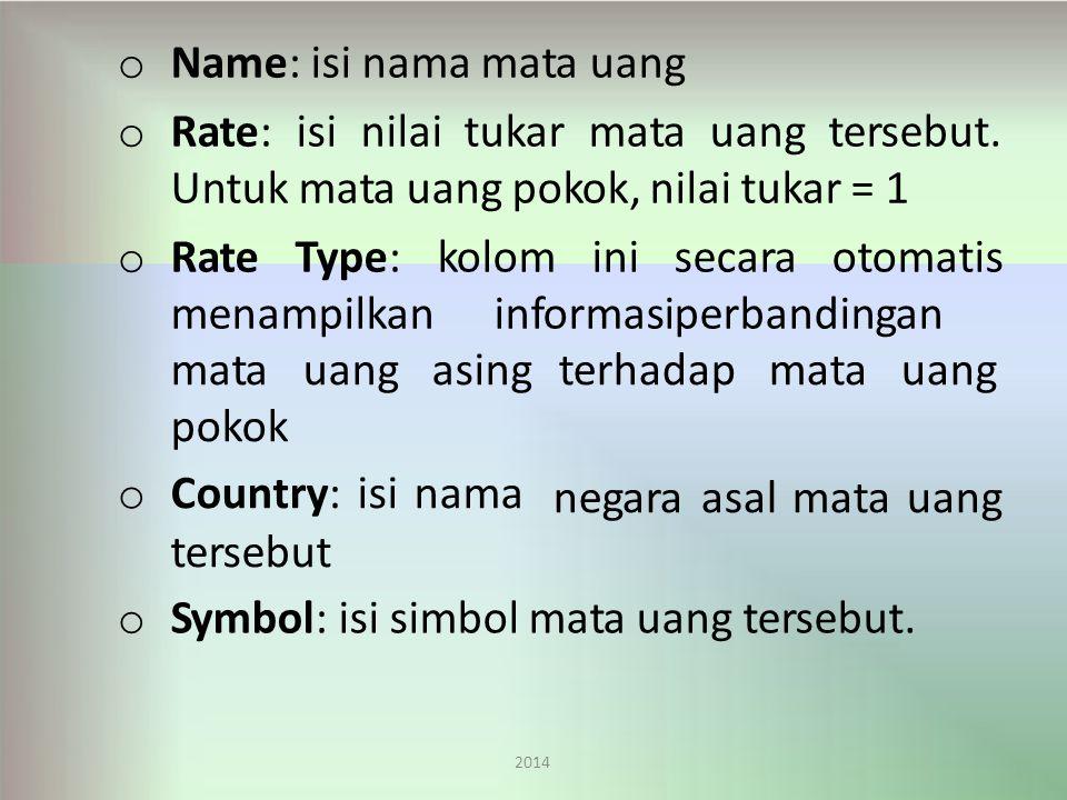 Name: isi nama mata uang Rate: isi nilai tukar mata uang tersebut.
