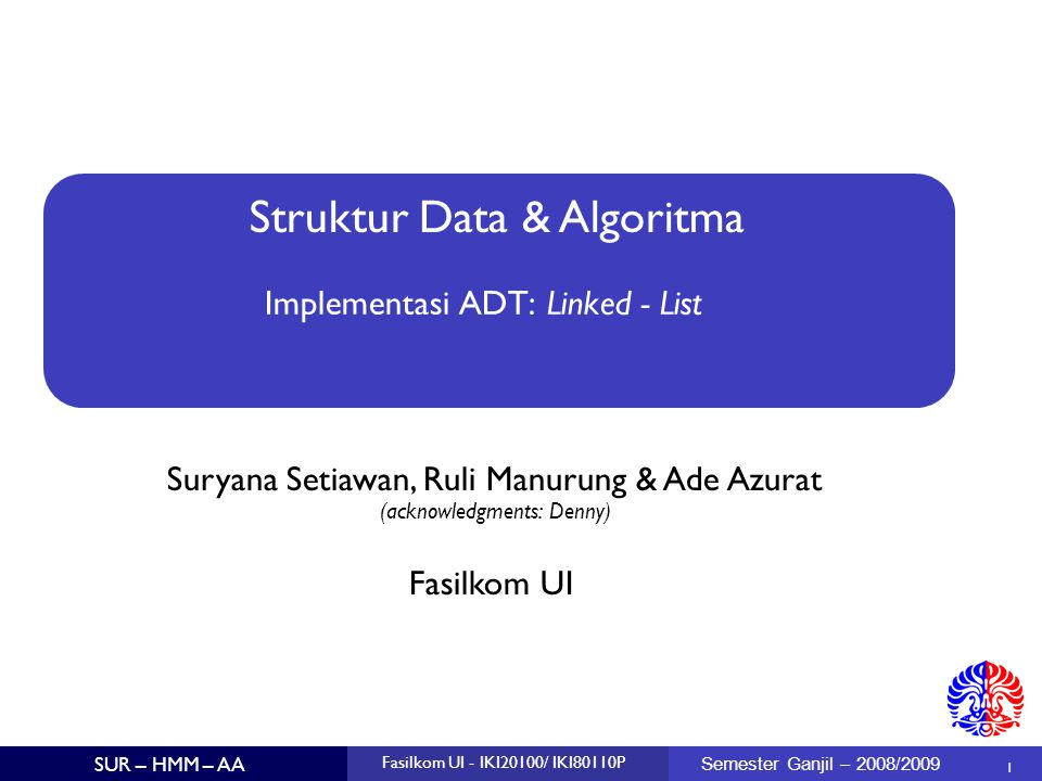 Implementasi ADT: Linked - List