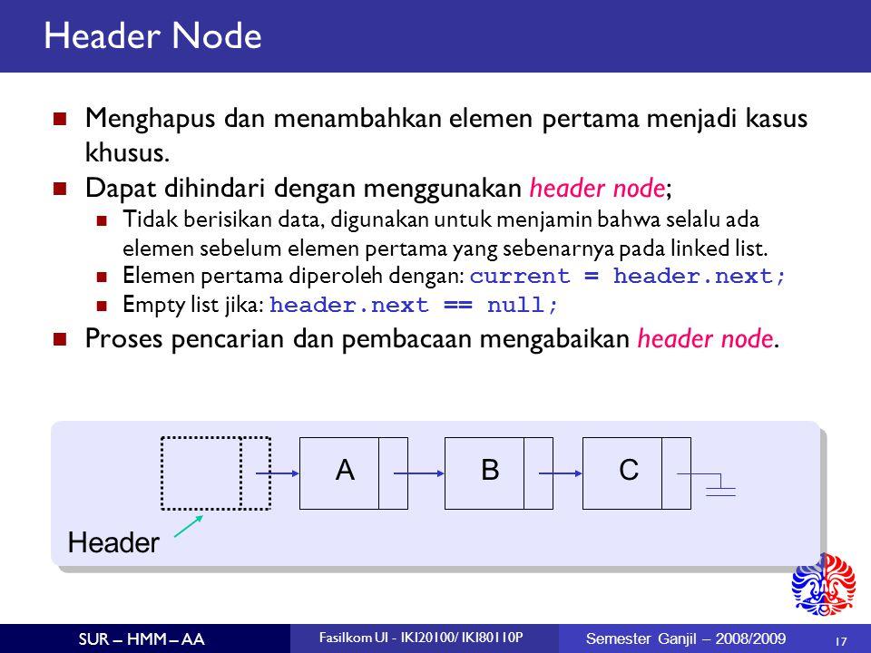 Header Node Menghapus dan menambahkan elemen pertama menjadi kasus khusus. Dapat dihindari dengan menggunakan header node;