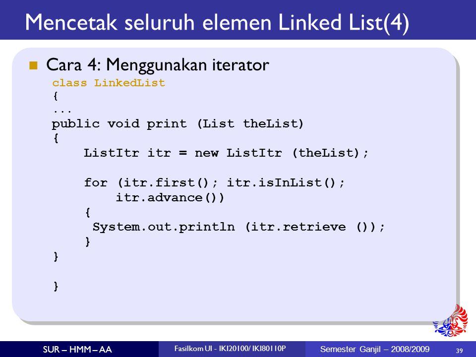 Mencetak seluruh elemen Linked List(4)