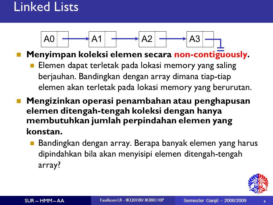 Linked Lists A0. A1. A2. A3. Menyimpan koleksi elemen secara non-contiguously.