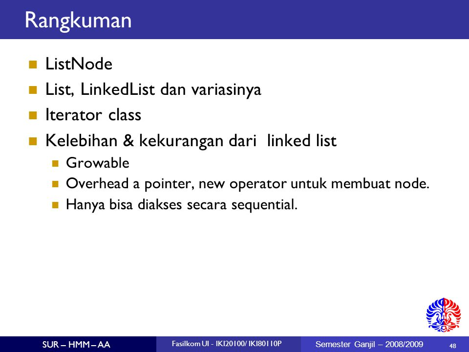 Rangkuman ListNode List, LinkedList dan variasinya Iterator class