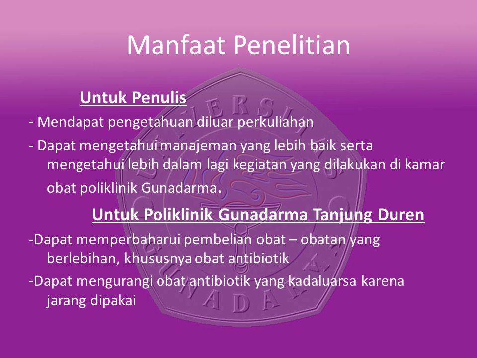 Manfaat Penelitian Untuk Poliklinik Gunadarma Tanjung Duren