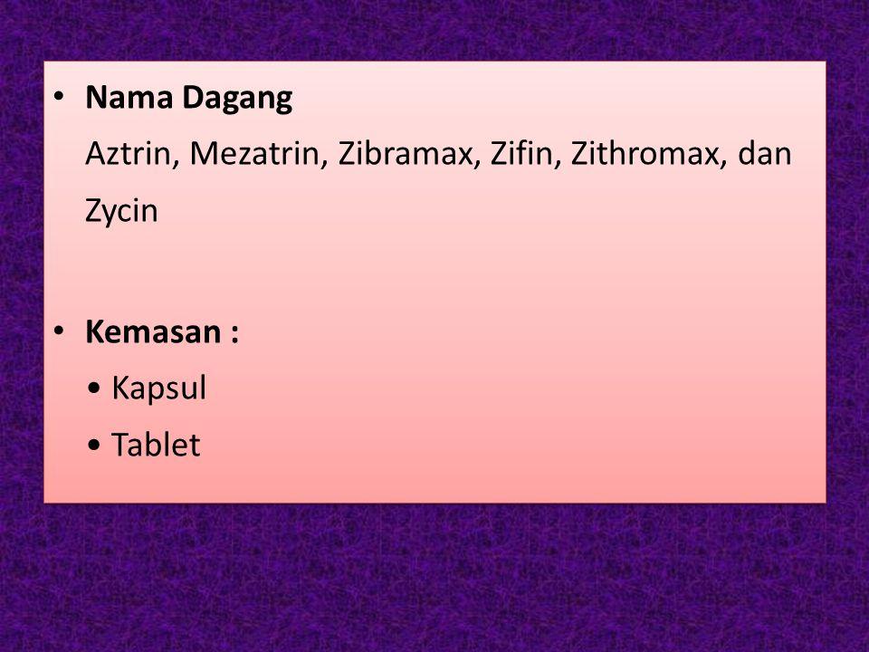 Nama Dagang Aztrin, Mezatrin, Zibramax, Zifin, Zithromax, dan Zycin