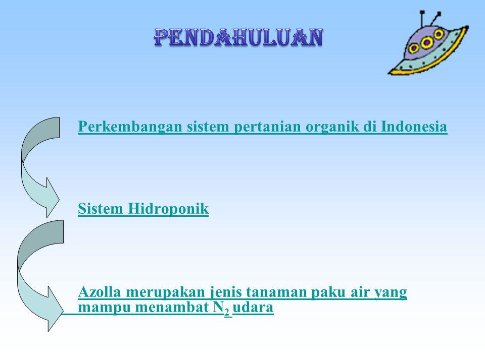 PENDAHULUAN Perkembangan sistem pertanian organik di Indonesia