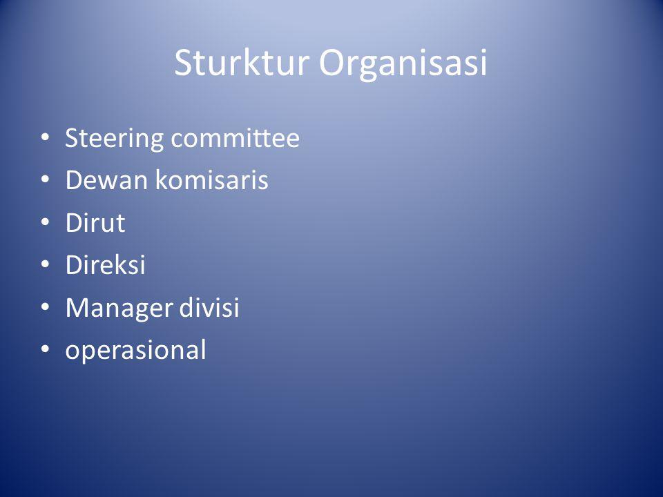Sturktur Organisasi Steering committee Dewan komisaris Dirut Direksi