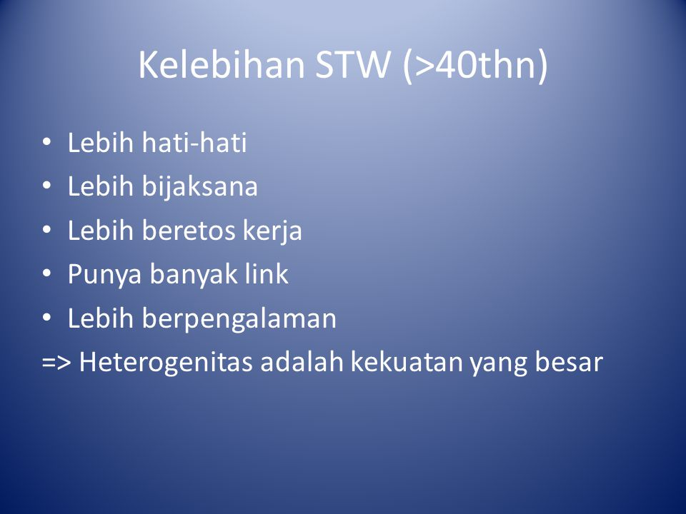Kelebihan STW (>40thn)