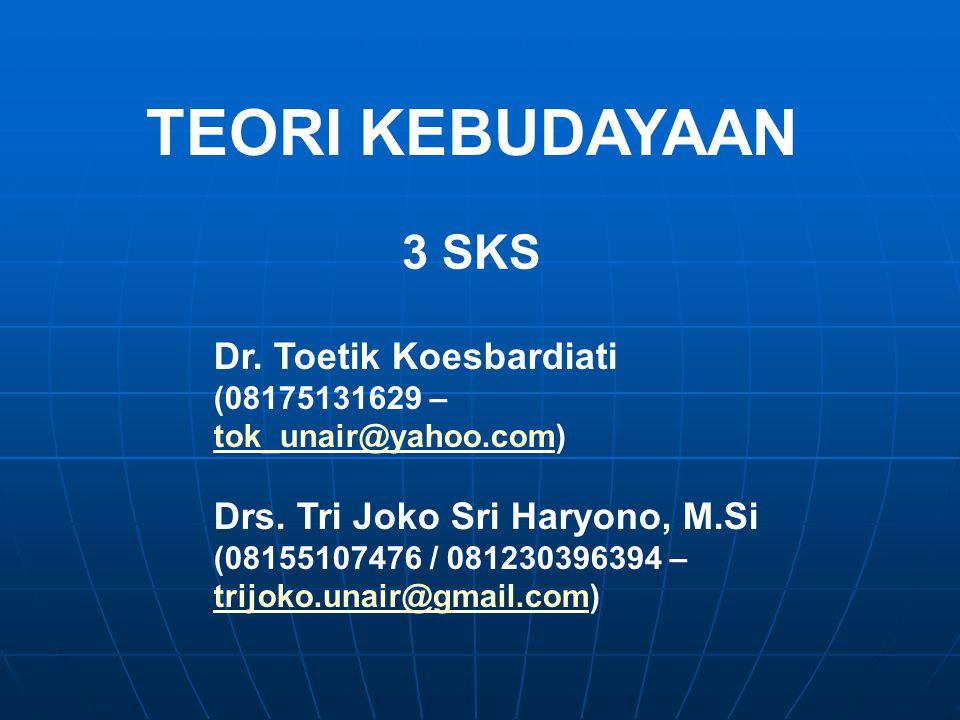 TEORI KEBUDAYAAN 3 SKS Dr. Toetik Koesbardiati