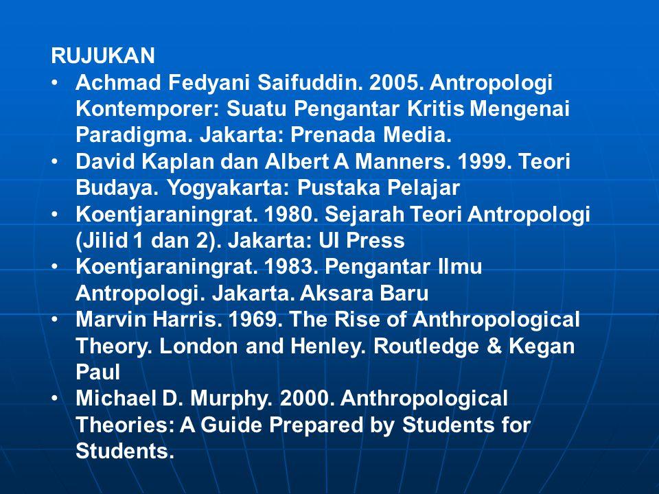 RUJUKAN Achmad Fedyani Saifuddin. 2005. Antropologi Kontemporer: Suatu Pengantar Kritis Mengenai Paradigma. Jakarta: Prenada Media.
