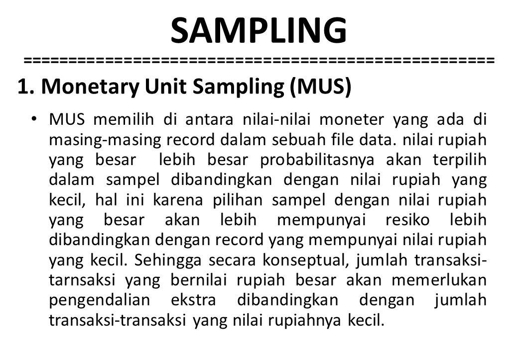 1. Monetary Unit Sampling (MUS)