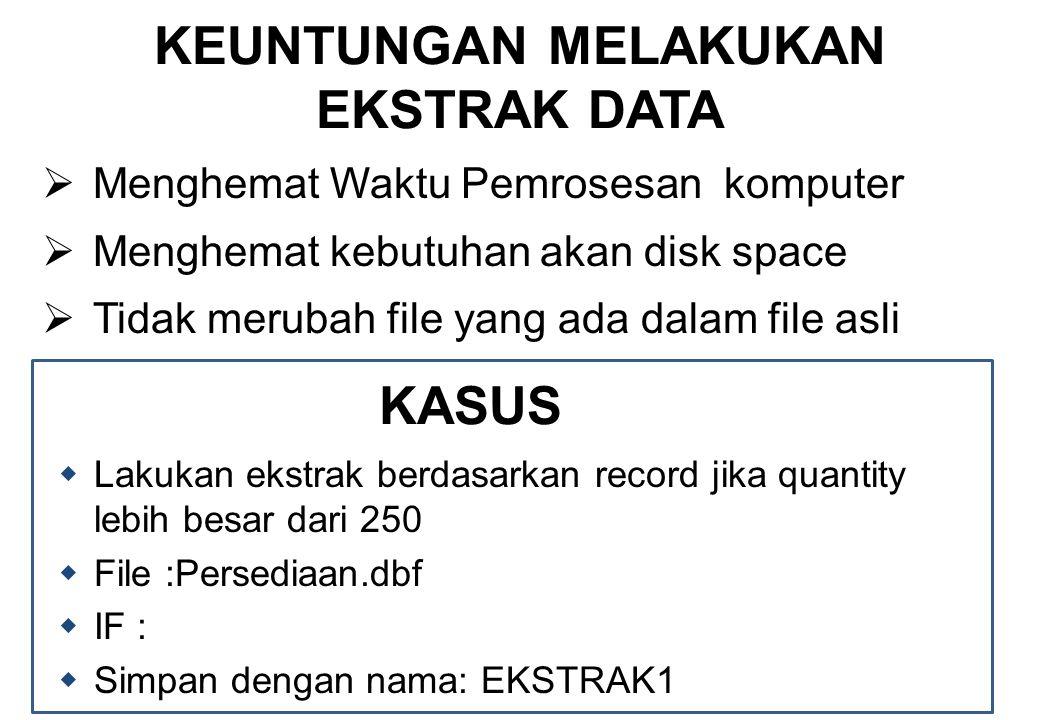 KEUNTUNGAN MELAKUKAN EKSTRAK DATA