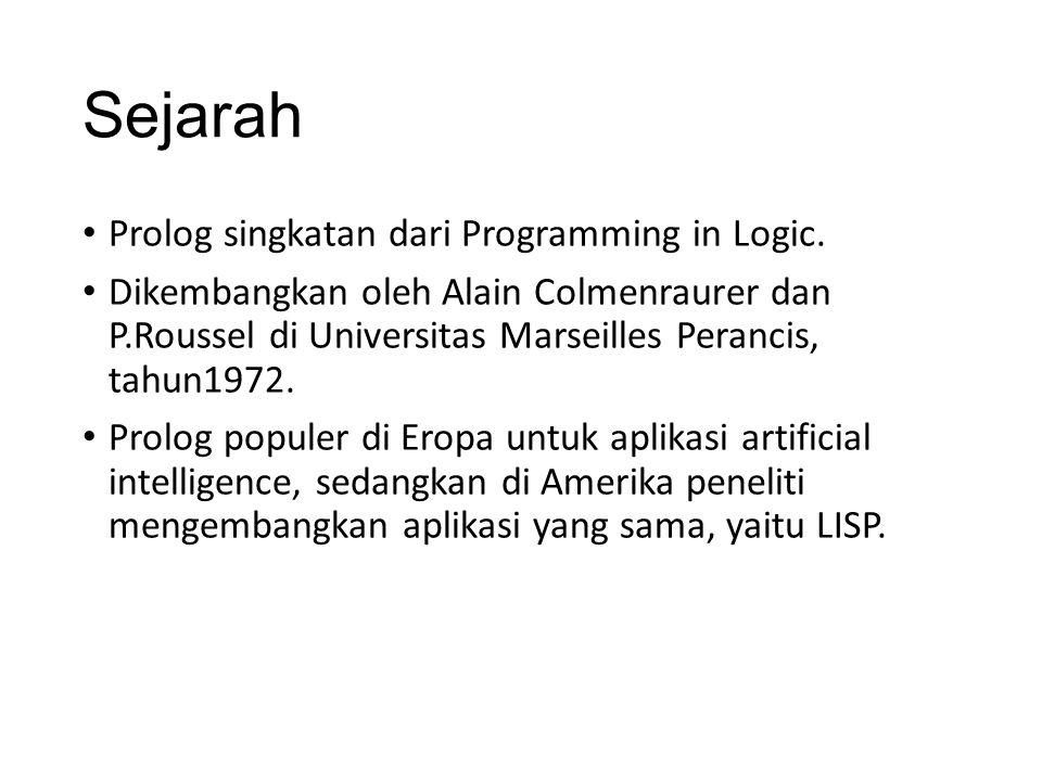 Sejarah Prolog singkatan dari Programming in Logic.
