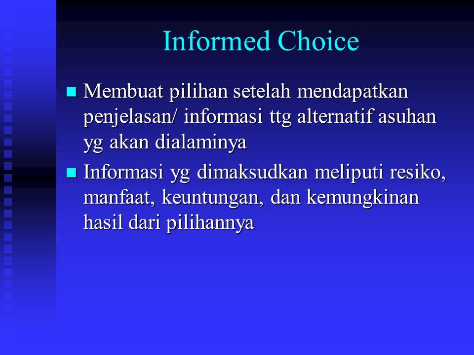 Informed Choice Membuat pilihan setelah mendapatkan penjelasan/ informasi ttg alternatif asuhan yg akan dialaminya.