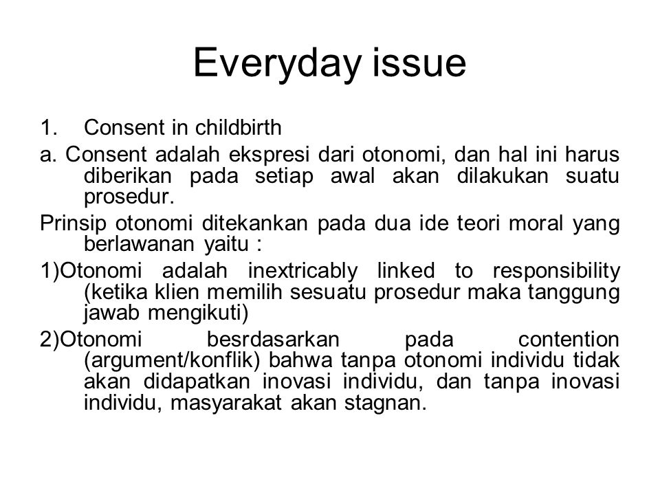 Everyday issue Consent in childbirth