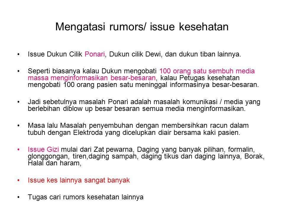 Mengatasi rumors/ issue kesehatan