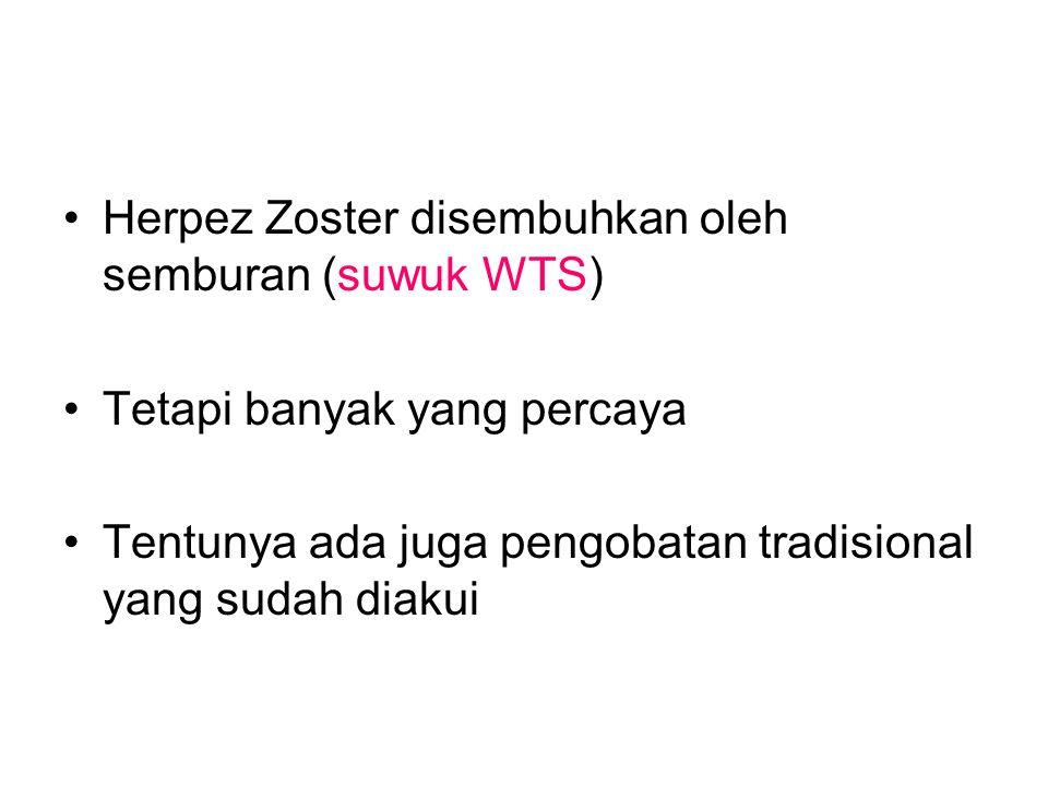 Herpez Zoster disembuhkan oleh semburan (suwuk WTS)