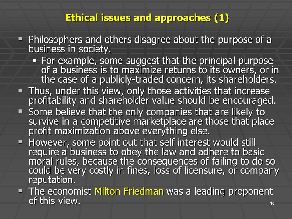 Ethical issues and approaches (1)