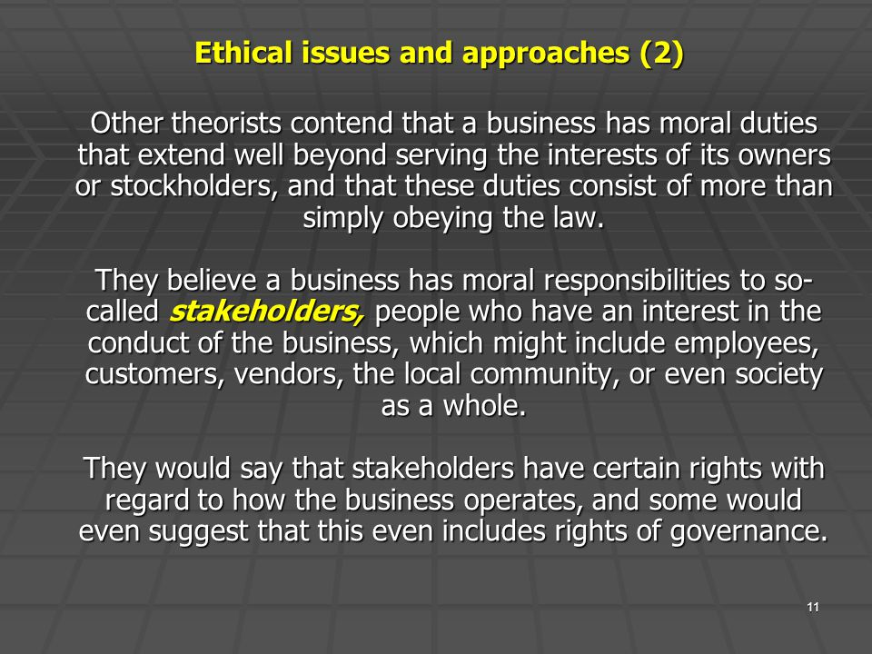 Ethical issues and approaches (2)