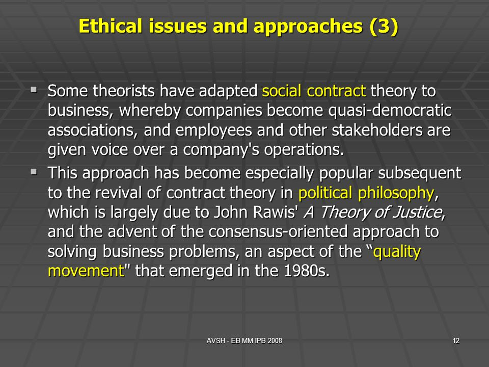 Ethical issues and approaches (3)