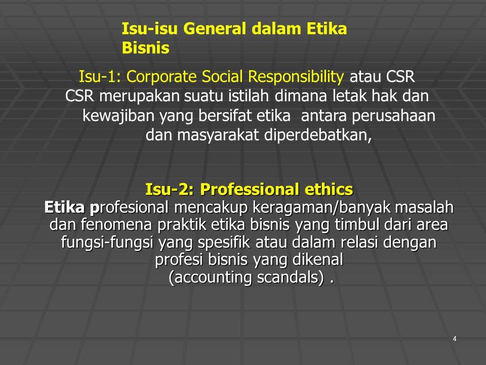 Isu-1: Corporate Social Responsibility atau CSR