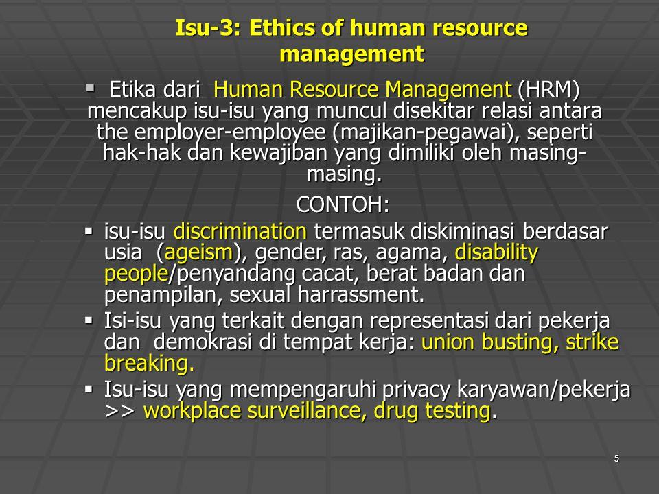 Isu-3: Ethics of human resource management