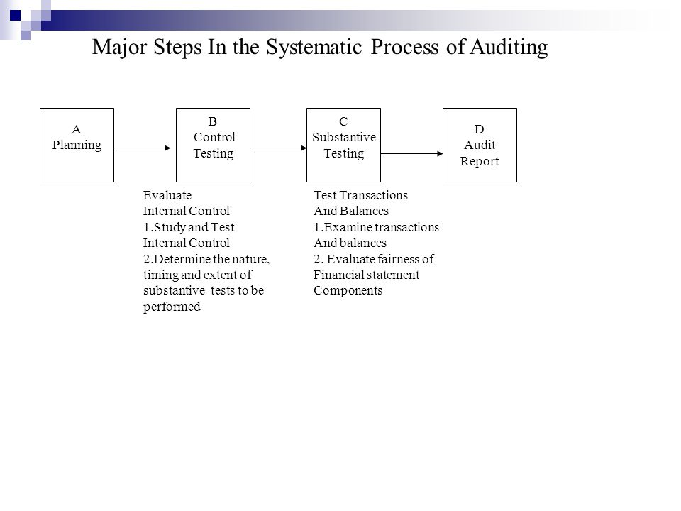 Major Steps In the Systematic Process of Auditing