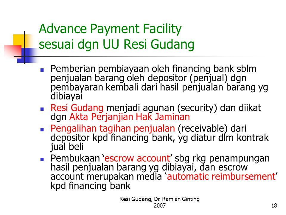 Advance Payment Facility sesuai dgn UU Resi Gudang
