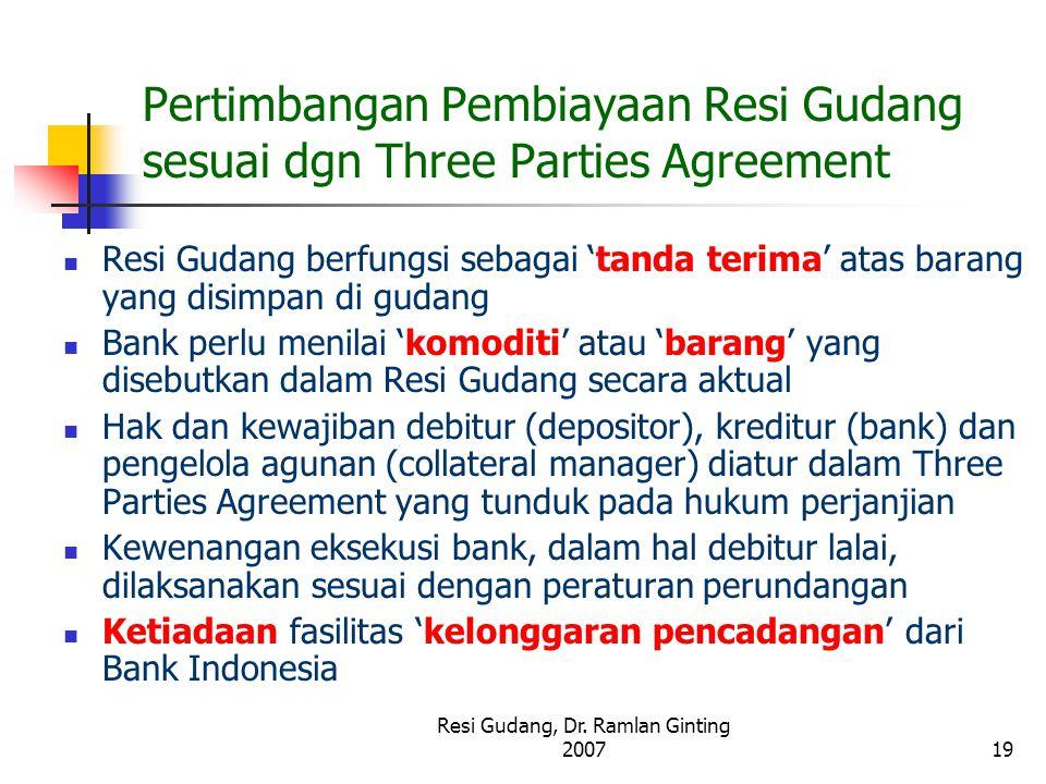 Pertimbangan Pembiayaan Resi Gudang sesuai dgn Three Parties Agreement