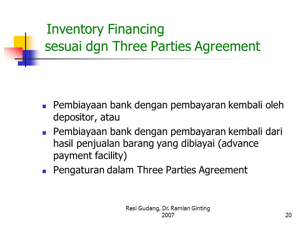 Inventory Financing sesuai dgn Three Parties Agreement