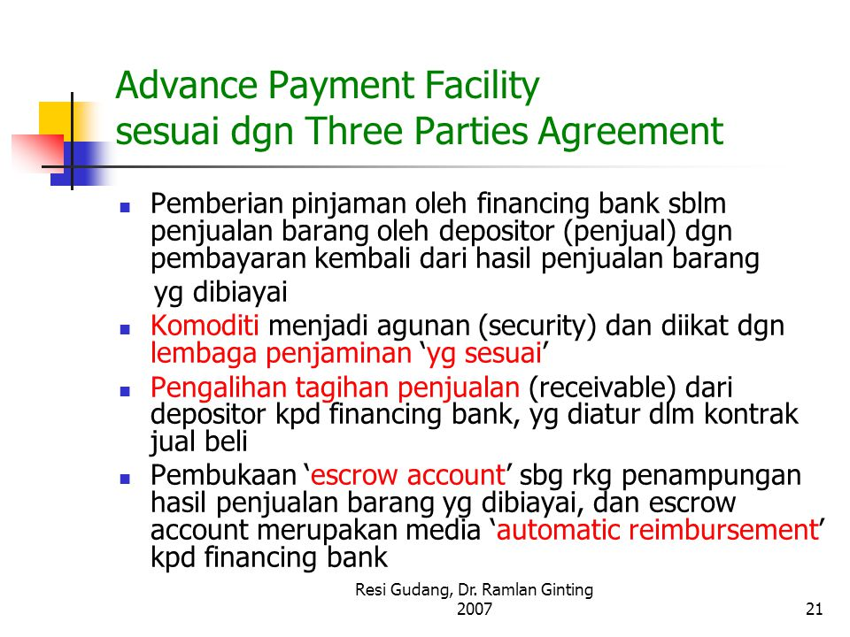 Advance Payment Facility sesuai dgn Three Parties Agreement