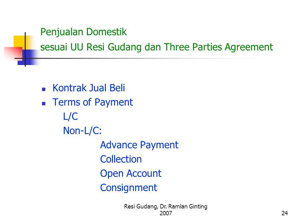 Penjualan Domestik sesuai UU Resi Gudang dan Three Parties Agreement