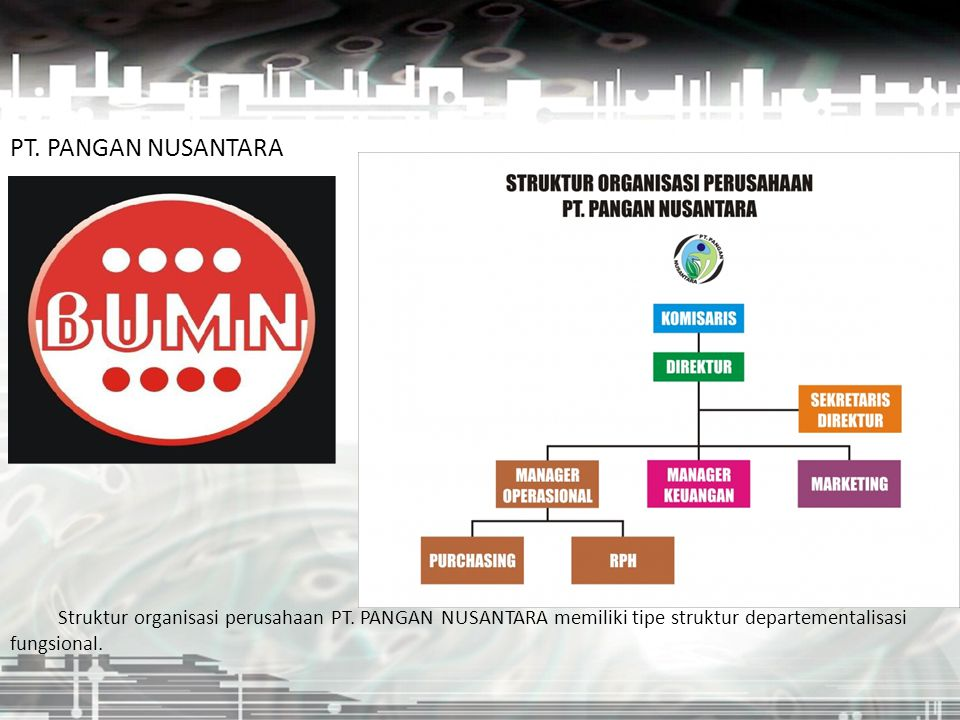 PT. PANGAN NUSANTARA Struktur organisasi perusahaan PT.