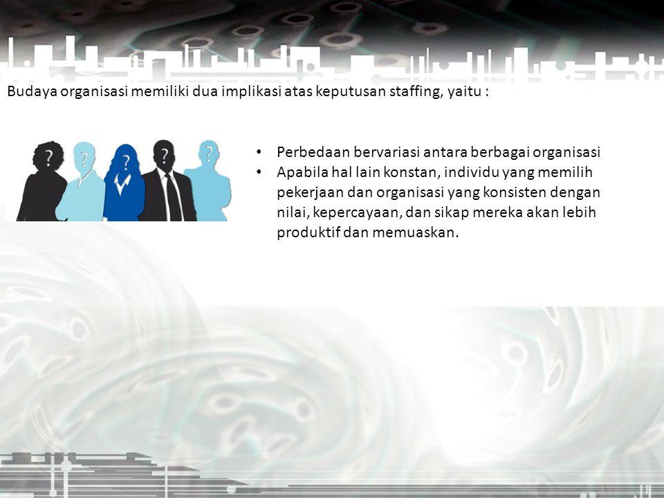 Budaya organisasi memiliki dua implikasi atas keputusan staffing, yaitu :