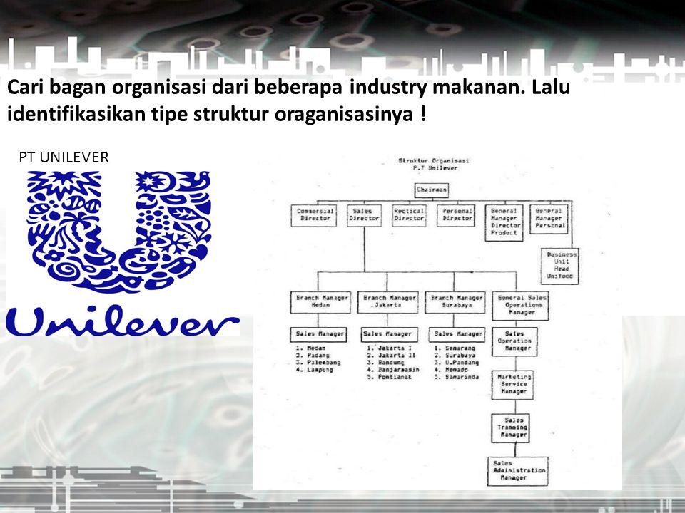 Cari bagan organisasi dari beberapa industry makanan