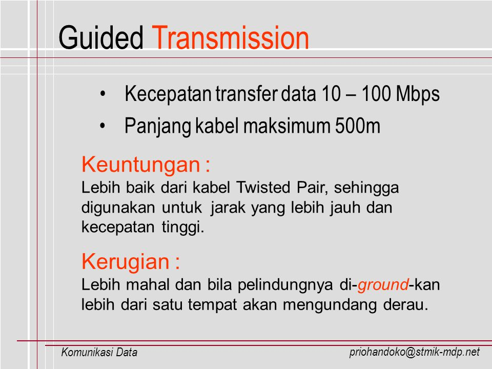 Guided Transmission Kecepatan transfer data 10 – 100 Mbps