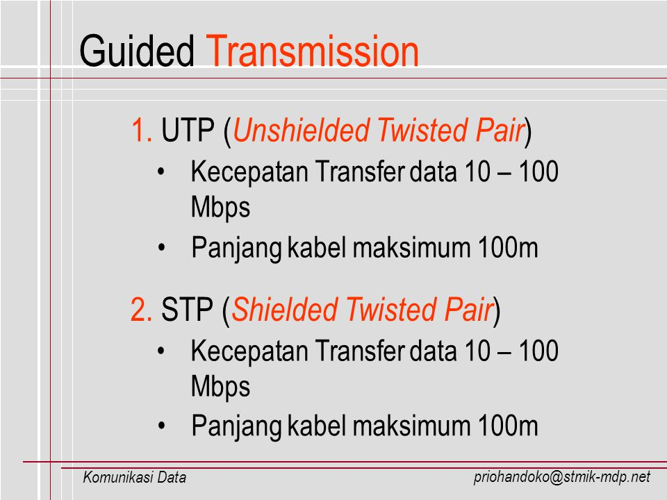 Guided Transmission 1. UTP (Unshielded Twisted Pair)