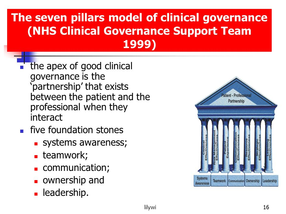 The seven pillars model of clinical governance (NHS Clinical Governance Support Team 1999)