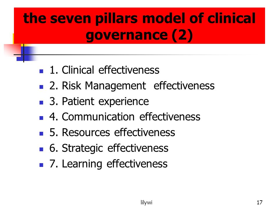 the seven pillars model of clinical governance (2)