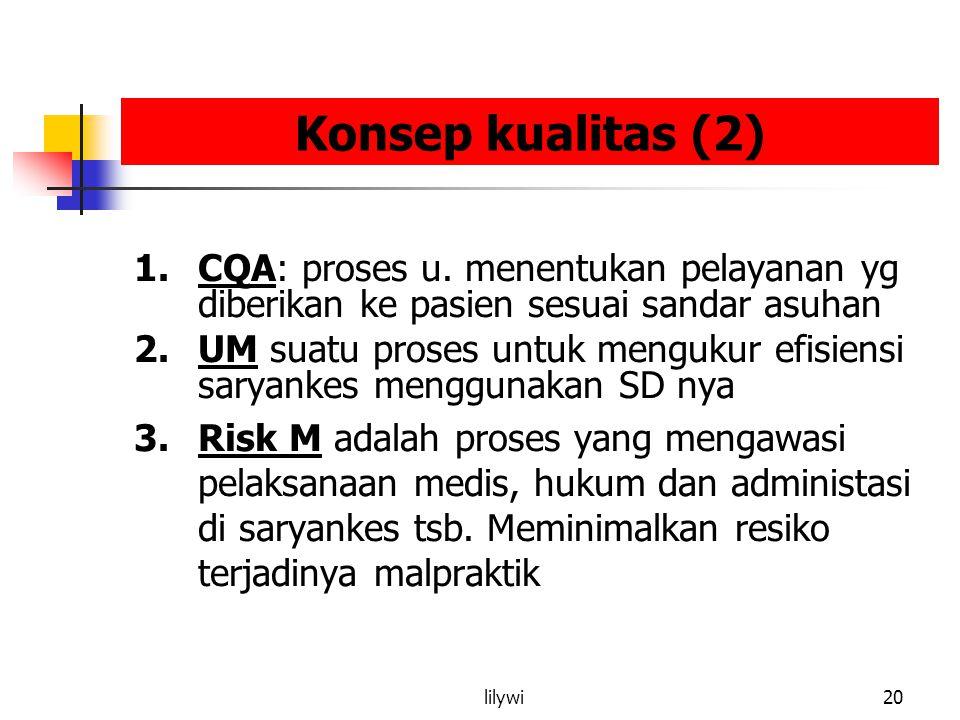 Konsep kualitas (2) CQA: proses u. menentukan pelayanan yg diberikan ke pasien sesuai sandar asuhan.
