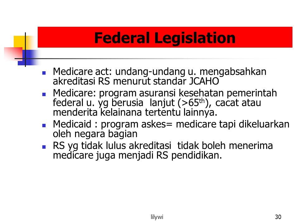 Federal Legislation Medicare act: undang-undang u. mengabsahkan akreditasi RS menurut standar JCAHO.