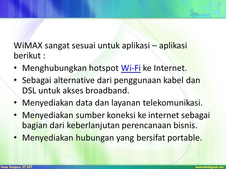 WiMAX sangat sesuai untuk aplikasi – aplikasi berikut :
