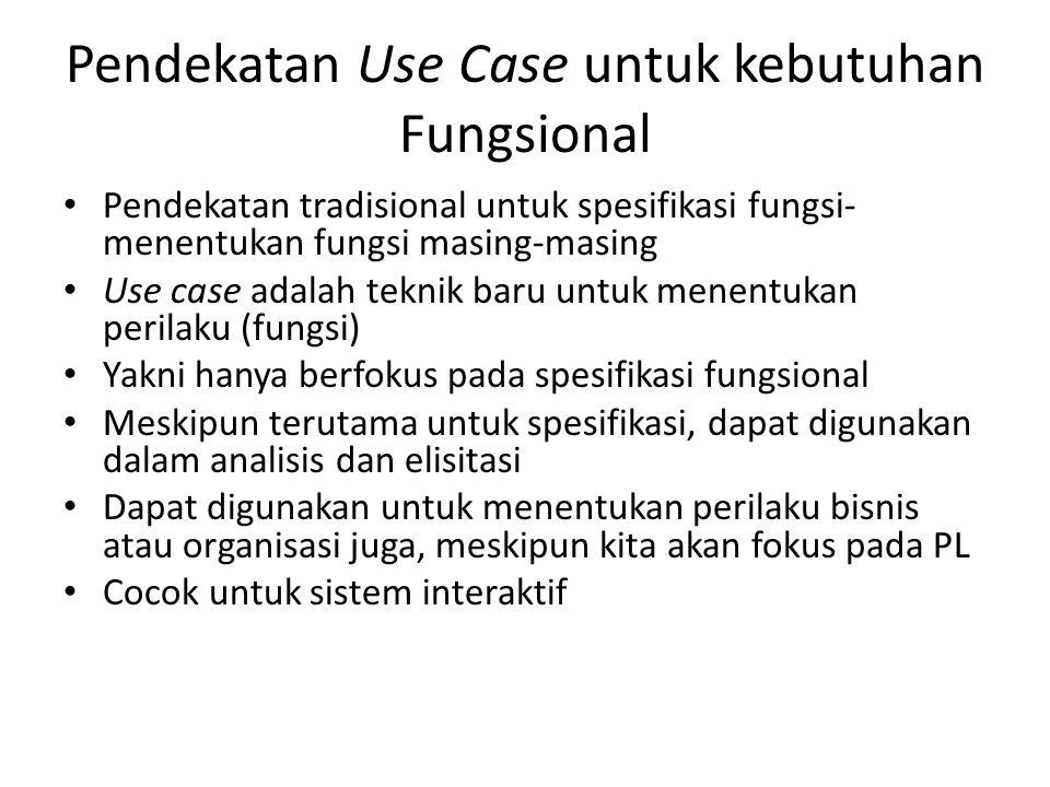 Pendekatan Use Case untuk kebutuhan Fungsional